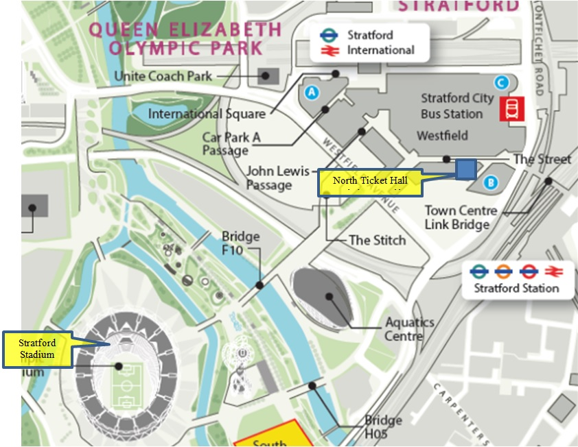 Figure 1 - Location showing stadium and Stratford Station: (EMP 2015)