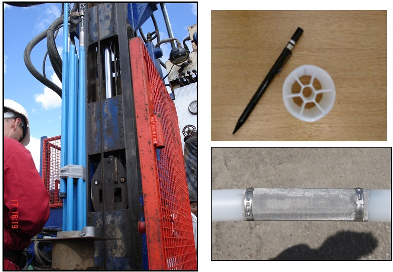 Figure 3 - (left) Sol Expert MPSS system of independent tubes, each with one piezometer and an associated independent response zone. Right, CMT-7 system with seven independent compartments produced as one continuous moulded tube. During installation, holes are made at different elevations to tap into each compartment and these are each associated with an independent response zone. The central tube monitors an installation at the base.