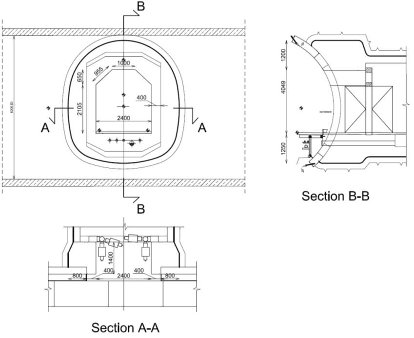 Figure 2:2 (iii) - Cross passage geometry: plan and sections