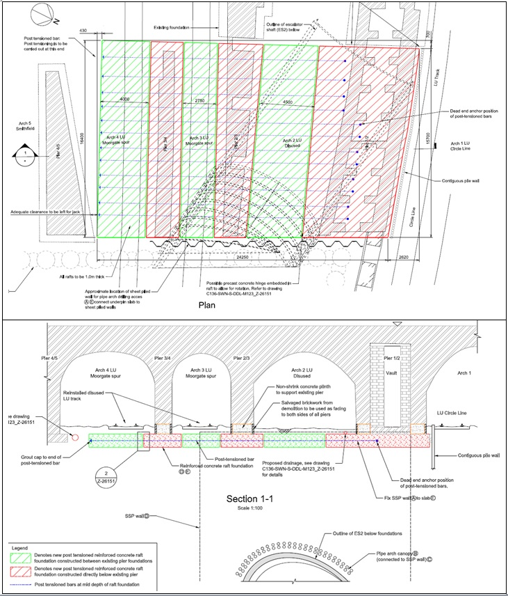 Figure 6 - LSB Mitigation Measures: General Arrangement of Crossrail Conceptual Design.