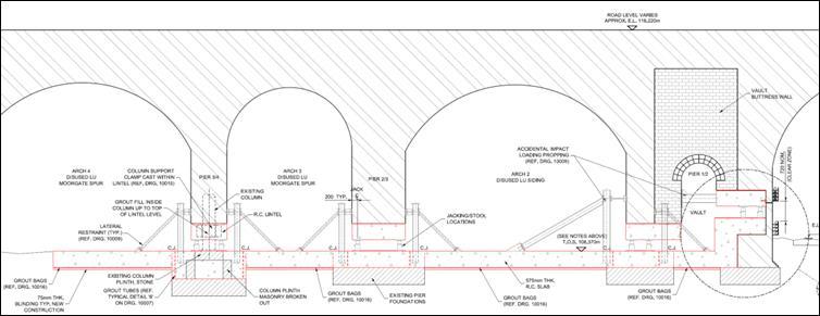 Figure 7 - BFK Detailed Design Solution for Lindsey Street Bridge Settlement Mitigation.