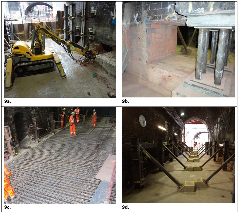 Figure 9 - Masonry breakout, propping and RC works on Piers 1/2 (south), 2/3 and 3/4.