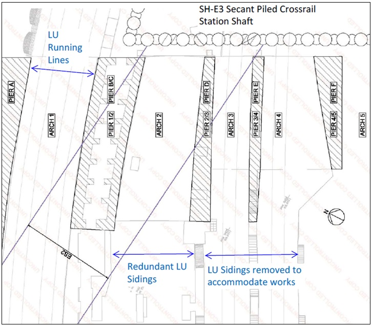 Figure 1 - Location of Lindsey Street Bridge Arches and Piers relative to Crossrail permanent works elements; ES2 inclined escalator shaft and SH-E3 secant piled shaft.