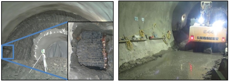 Figure 1 - Uncharted well at TCR (L), water discharged into CH3 tunnel from the well (R)