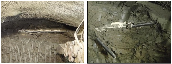 Figure 12 - TAM pipes exposed during excavation of the VEW tunnel