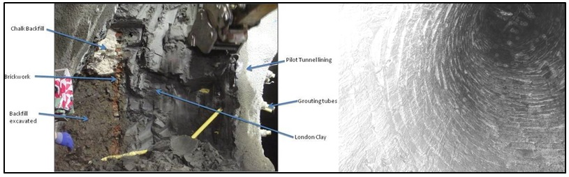 Figure 4 - Pocket excavation of uncharted well (left) and photo of inside of well (right) at BOS