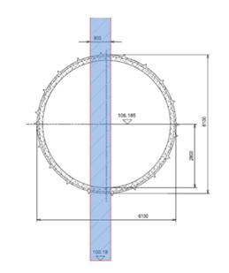 (d) Cross section through AP1 at pile 17