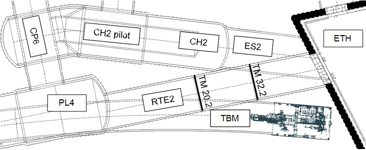 Figure 1 - Plan view showing RTE2 and the subsequently excavated CH2 and ES2.