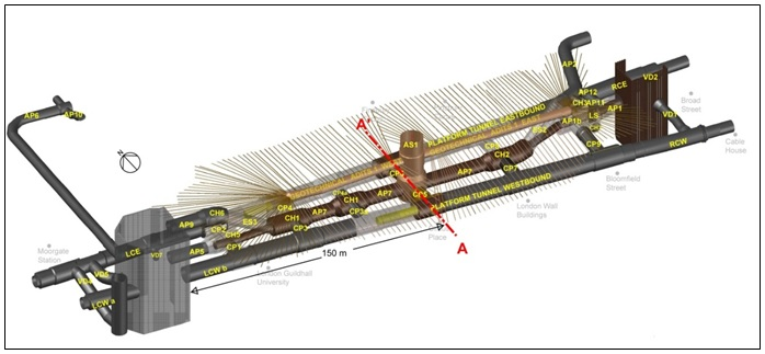 Figure 1 - CRL Liverpool Street Station 3D model showing the Access Shaft (AS1), Platform Tunnels, Concourse Tunnels, Cross Passages and Ventilation Ducts at a lower level; and Escalators and pedestrian links at the upper level. Also shown above the concourse tunnels are the Geotechnical Adits, which were used for the compensation grouting works.