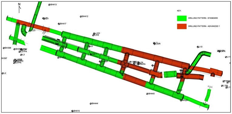 Figure 6 - Liverpool Street station, Enlargement Tunnel plan view. Advanced drill patterns were to be applied in the shaded areas (red), and standard pattern elsewhere [1].