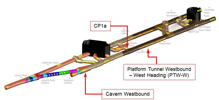 Figure 1 - Whitechapel Station. The case history looks at Platform Tunnel Westbound – West Heading, opening for CP1a and at Cavern Westbound. Graphic Credit: BBMV JV C510.