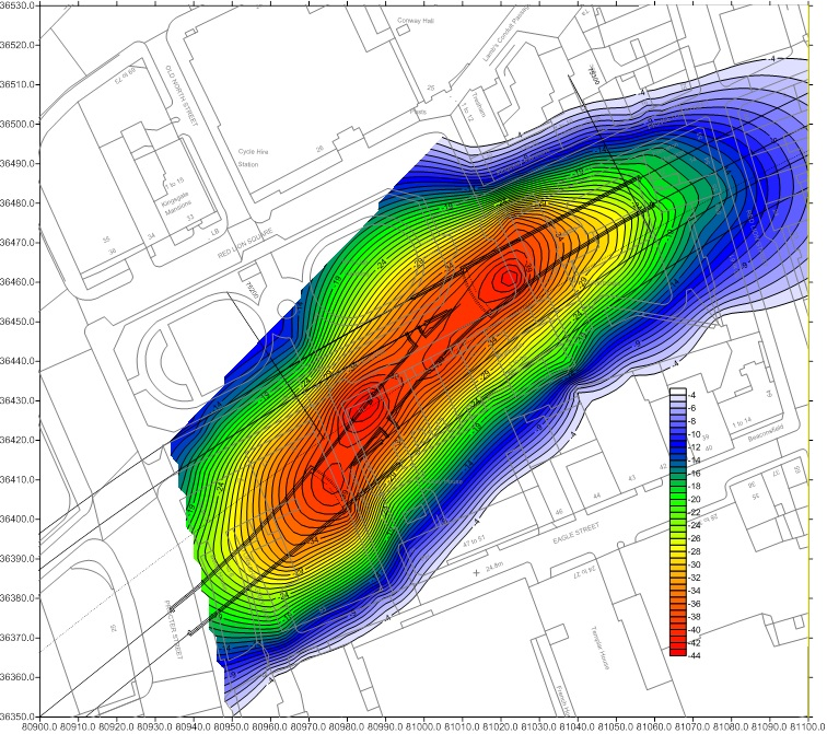 Figure 23 - Contours of surface settlement (mm) due TBMs and SCL excavations in Fisher Street crossover, excluding CP2 and niches