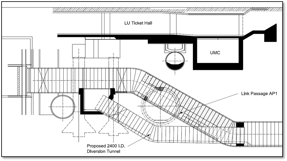 Figure 1.0 - Section view of the link passageway and diversion tunnel