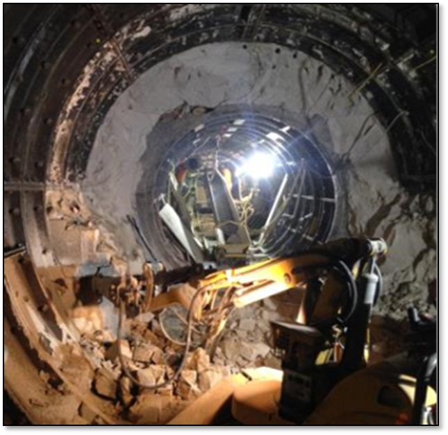 Figure 14.0 - A pneumatic breaker was used in excavation through the existing tunnel