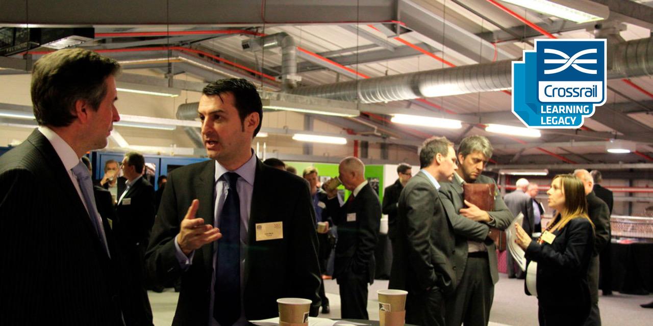 Photo of Crossrail representatives meeting supplier representatives at an event