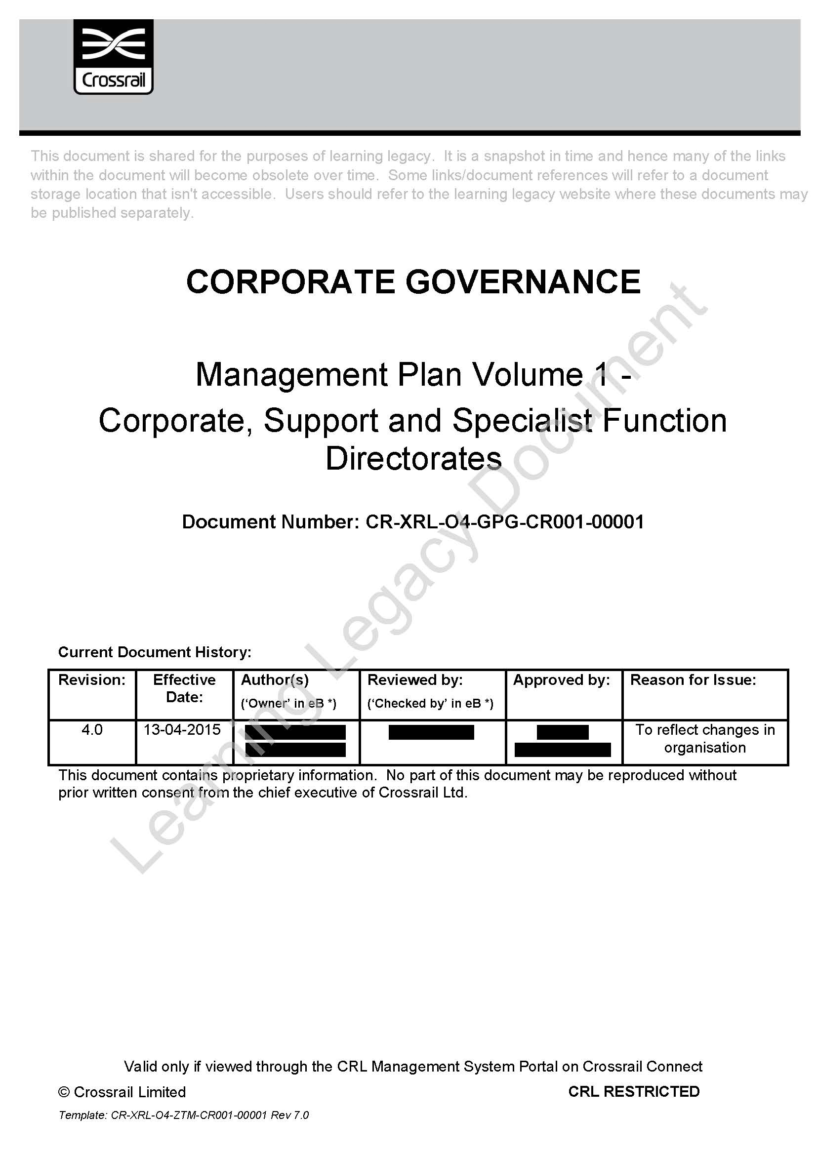 Crossrail Management Plan - Crossrail Learning Legacy