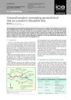 Crossrail project: managing geotechnical risk on London's Elizabeth line
