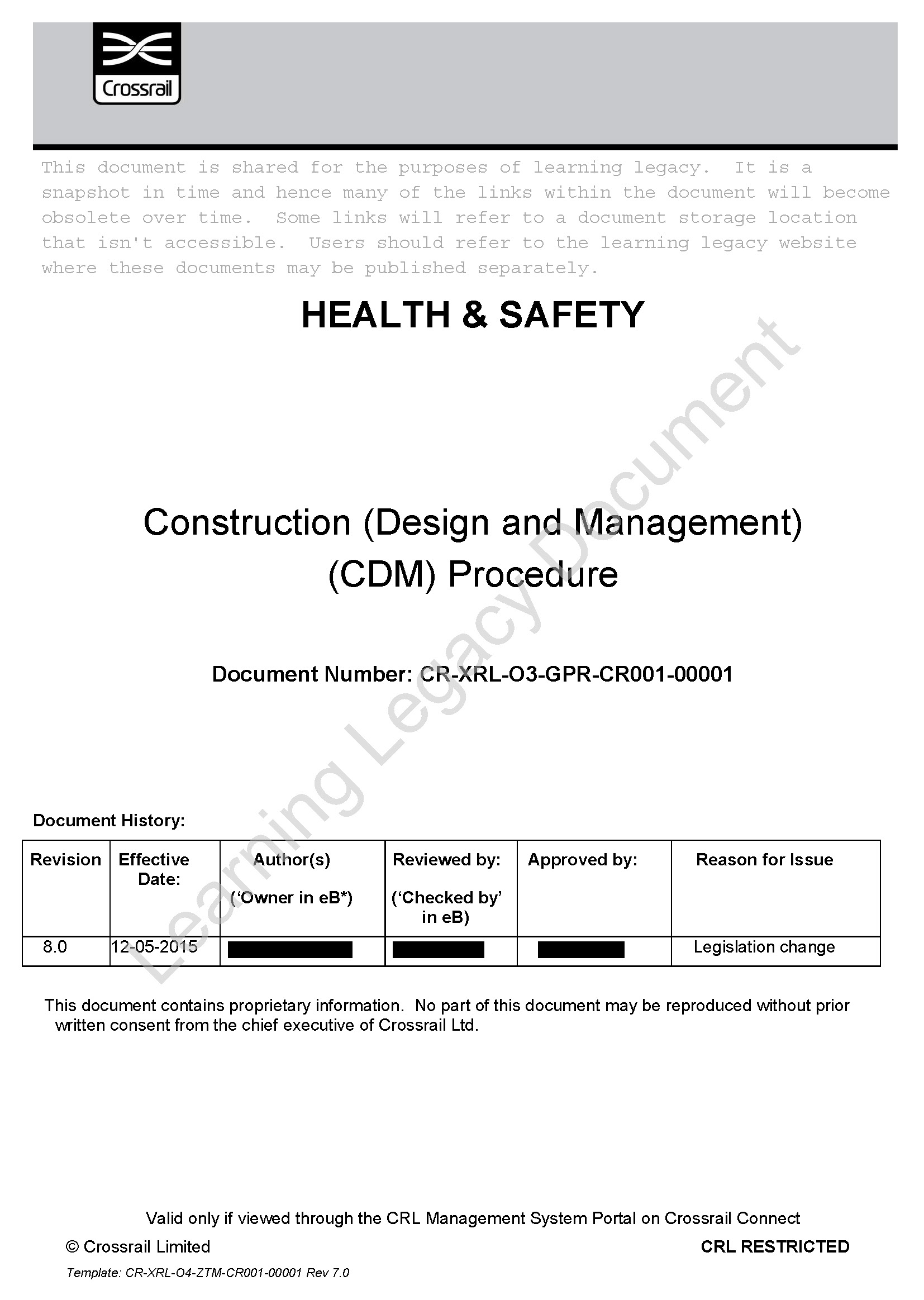 Health and Safety Assurance - Crossrail Learning Legacy