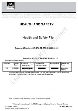 cdm health and safety file template - health and safety file guide crossrail learning legacy