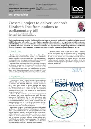 Crossrail project to deliver London's Elizabeth line: from options to parliamentary bill