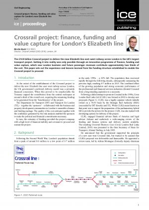 Crossrail project: finance, funding and value capture for London's Elizabeth line