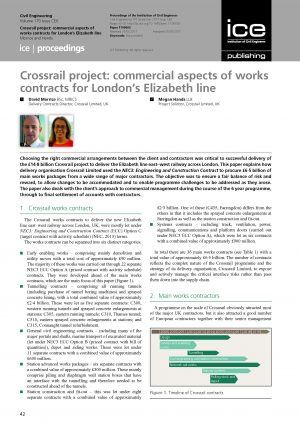 Crossrail project: commercial aspects of works contracts for London's Elizabeth line