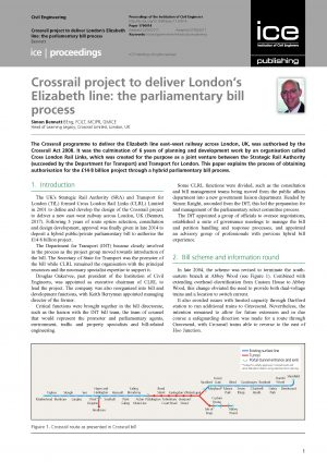 Crossrail project to deliver London's Elizabeth line: the parliamentary bill process