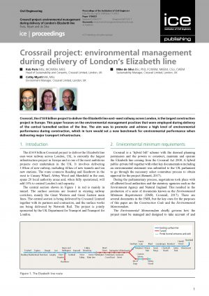 Crossrail project: environmental management during delivery of London's Elizabeth line