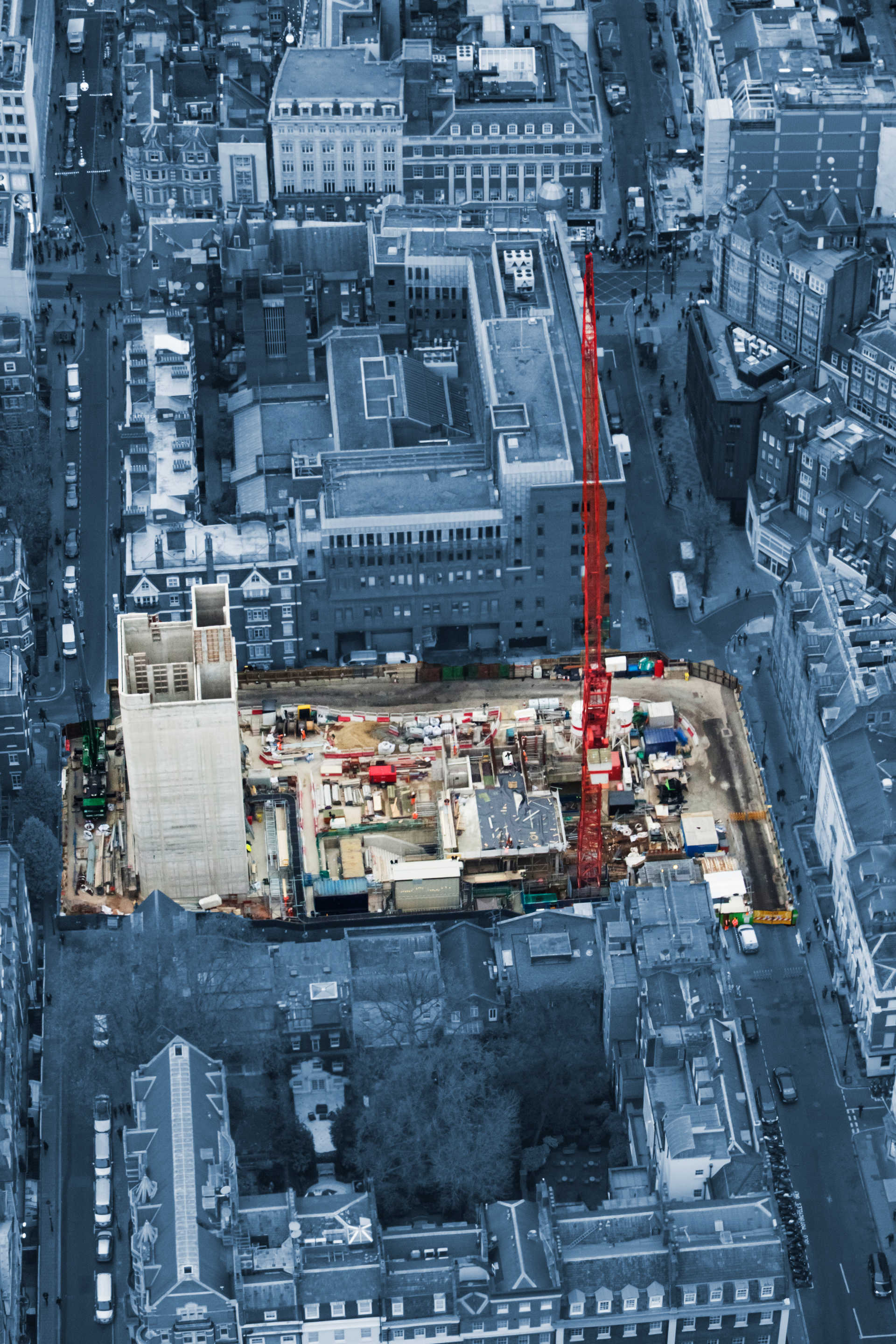 Aerial photograph of Dean Street Crossrail worksite