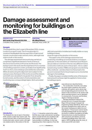 Damage assessment and monitoring for buildings on the Elizabeth line