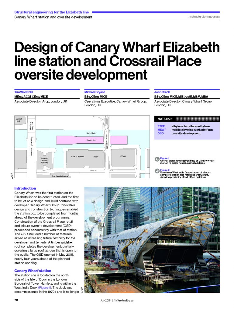 Design Of Canary Wharf Elizabeth Line Station And Crossrail Place Oversite Development Crossrail Learning Legacy