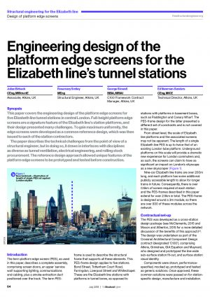 Engineering design of the platform edge screens for the Elizabeth line's tunnel stations