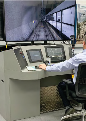 Photo of train driving simulator in use