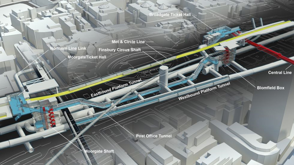 Cutaway axonometric illustration of Crossrail Liverpool Street Station structures