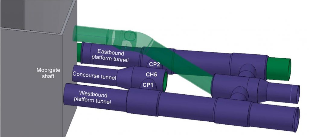 Illustration of tunnels and cross passages at western end of Crossrail Liverpool Street Station