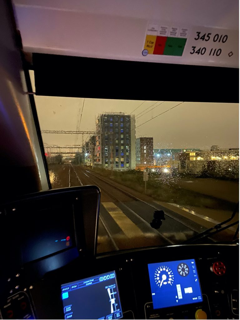 View from train cab of Mile End Road track access point