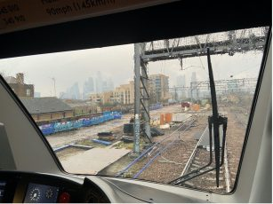 View from train cab of Bethnal Green Road Rail Access Point